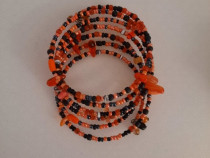 Bratara infasurata wrap dama pietre portocalie neagra - Noua