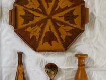 Lot platou lemn+2 sfetnice vaze lemn+lingura lemn decorativa