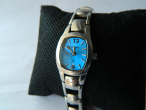 Ceas de dama vintage Fossil , cadran albastru , din otel co