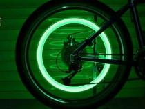 Set 4 LEDuri lumina verde pentru roti la bicicleta