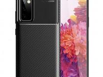 Husa Carbon Neagra+ Folie Sticla Samsung A12 A32 A42 A52 A72