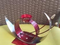 RD170 Suport metal lumanare rosu cu argintiu