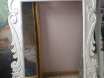 Rama oglinda lemn masiv sculptata manual 70×100 cm