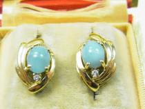 Cercei aur 14k vintage pietre larimar si diamante raritate r
