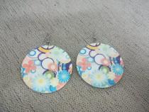 Cercei dama rotunzi cu model floral colorat - Noi