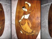 25a-Aplica veche cu dansatoare orientala lemn nuc intarsie.