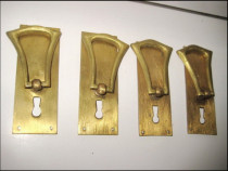 4 Shielduri vechi din alama model Jugendstil pentru mobilier