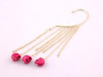 NOU***Cercel earcuff cu capete de schelet roz***