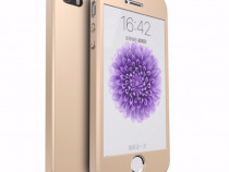 Iphone 5 5S SE Husa 360 Aurie, Gold Fata Spate Folie Sticla
