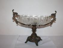 Fructiera veche, sticla cu suport de bronz