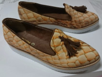 Pantofi crem & cognac piele naturala, usoara platforma, 36