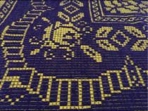 Cuvertura lana,tesuta manual,bleumarin-galben,213x159cm