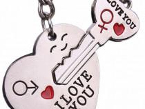 Breloc accesorii cuplu indragostiti i love you inima cheie