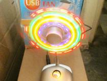 Lampa USB cu ventilator, laptop, lumina multicolora