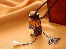 Colier lant si pandantiv sticluta mesaj dragoste idee cadou