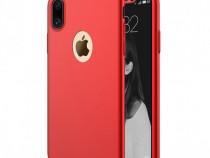 Iphone X 10 - Husa 360 Plastic Fata Spate Folie Sticla Aurie