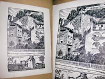 Castel Franzisky Salzburg Bleinhor gravura alb negru carton