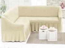 Husa pentru canapea tip coltar culoare - bej natur