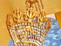 8366-Candelabru Baroc bronz aurit Franta sticle gen cristal.
