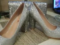 Pantof damă nunta botez nr 39 nou