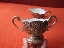 Vintage victorian Cream&Sugar Set,placat Argint,1950-cadou