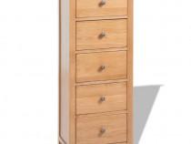 Comodă înaltă cu sertare, stejar masiv, 45 x (243934)