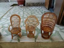 Set 3 scaune Miniaturale din nuiele artizanat