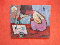 Print/Litho.pe lemn '60-Child with Paint Brush -cadou inedit
