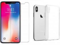 Iphone X XS 10 XS MAX - Pachet Folie Sticla Husa Silicon