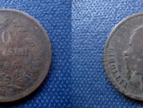 Moneda 10 Centesemi-1866-M-Victor Emanuel-Rege italia-bronz.
