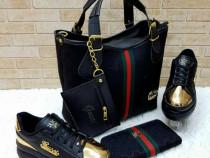 Set gucci-geanta+portofel/logo auriu/new model