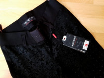 Pantaloni eleganti/material tip catifea+strass
