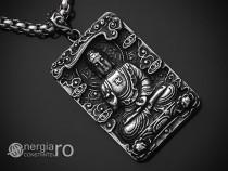 Amuleta Medalion Pandantiv Tabletă Buddha INOX - cod PND195