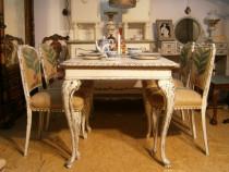 Set masa si 4 scaune vechi din lemn reconditionate