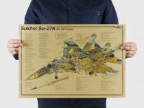 Poster vintage avion Sukhoi Su-27K SU-33 Flanker hartie kraf