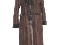 Palton nou, lung, stil Alain Delon, din blana naturala grej