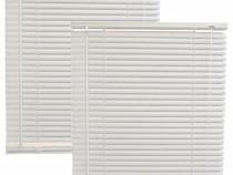 2x Jaluzele din plastic albe, PVC orizontala 30x140cm