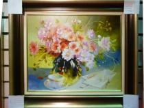 Tablou pictat manual pe panza in ulei Vaza cu Flori A-177