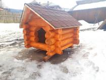 Cușcă pentru câine din lemn rotund