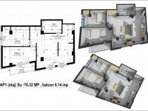 Apartament 3 camere in spate la Profi George Enescu