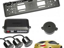 Set senzori parcare auto cu buzzer kit suport numar spate