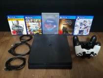 PlayStation Ps 4 slim, 1 tb, 2 controlere, 5 jocuri
