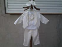 Costum botez elegant baieti, crem, 4 piese 0 - 6 luni