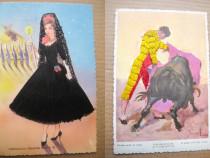 A623-I-2 Carti Postale vechi Spania lucrate pe fir matase.