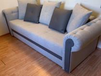Canapea extensibila 3 locuri, cu lada, gri, 245 x 105 x 75 c