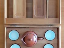Set complet de ceai in cutie de lemn cu spatiu plicuri ceai