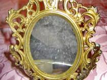 89-Oglinjoara dama miniatura masa stil Baroc metal bronzut.