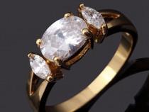 GR341,inel placat aur 14k, model logodna, zirconiu alb