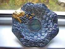 554a-Fructiera din ceramica in culori de curcubeu.