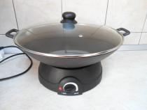 Wok din fonta cu capac si plita electrica-1500W